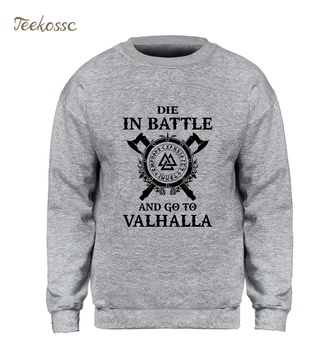 Odin Vikings Sweatshirt Men Die In Battle And Go To Valhalla Hoodie Crewneck Sweatshirts 2018 Winter Autumn Hip Hop Streetwear