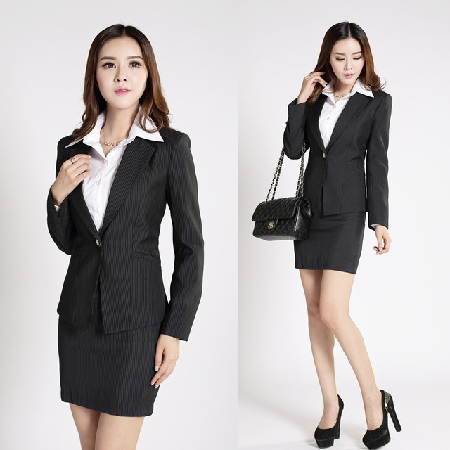 Formal Vertical Striped Blazer Women Suits with Skirt and Top Sets ...