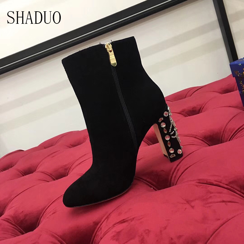 2018 women Genuine Leather stitching velvet autumn and winter boots with thick diamonds inlaid high heels