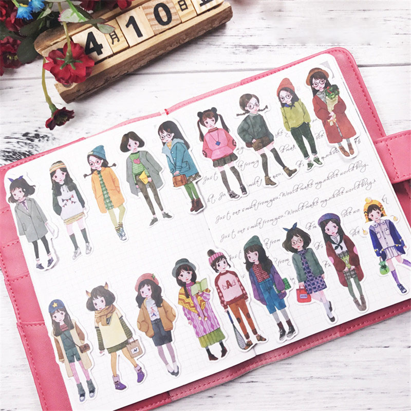 1pack girl sticker PVC Scrapbook hand book diary Stickers kawaii cartoon girls waterproof stickers toys kids children pegatinas