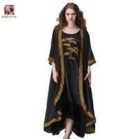 Jiqiuguer Для женщин вышивка летние кардиганы Kimino Винтаж негабаритных v образным вырезом черный блузки рубашки Повседневное Леди Длинные Топы