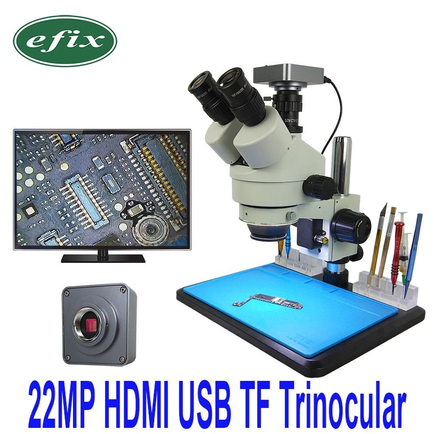 efix 22MP HDMI USB Camera 7 45X Simul Focal Trinocular Soldering Stereo Continus Zoom Microscope for