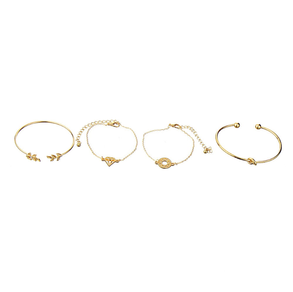 4Pcs Elegant Women's Crystal Rose Flower Bangle Cuff Bracelet Jewelry Gold Set 2