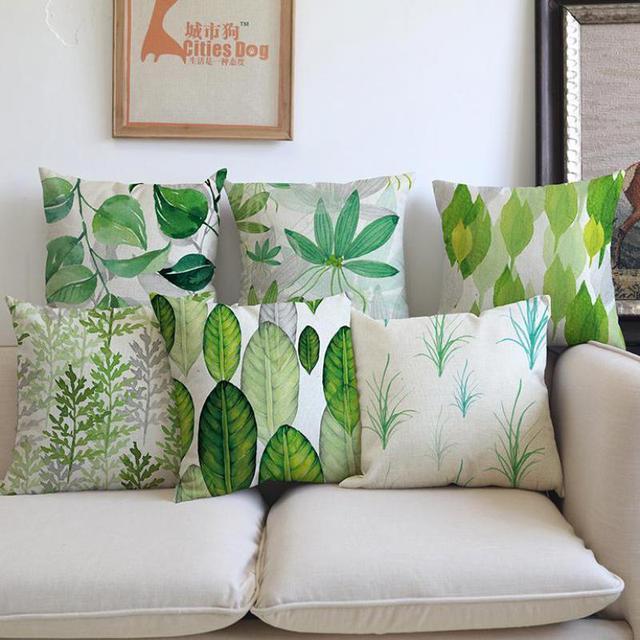 gratis verzending groothandel aangepaste groen planten kussen interieur sofa bureaustoel bladeren kussen 4545 cm