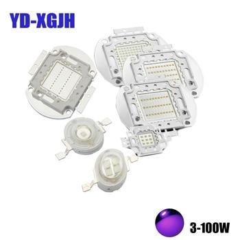 Ультрафиолетовые огни 3 Вт 5 Вт 10 Вт 20 Вт 30 Вт 50 Вт 100 Вт Высокая мощность УФ фиолетовые светодиодные чипы 365нм 375нм 380нм 385нм 390нм 400нм 405нм 425нм COB