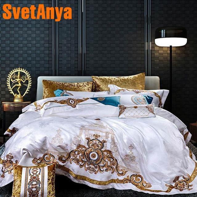 Juego de ropa de cama con brocado blanco de sarga tipo king queen, ropa de cama de doble tamaño