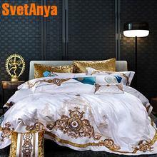 Svetanya blanc brocart ensemble de literie roi reine double taille linge de lit