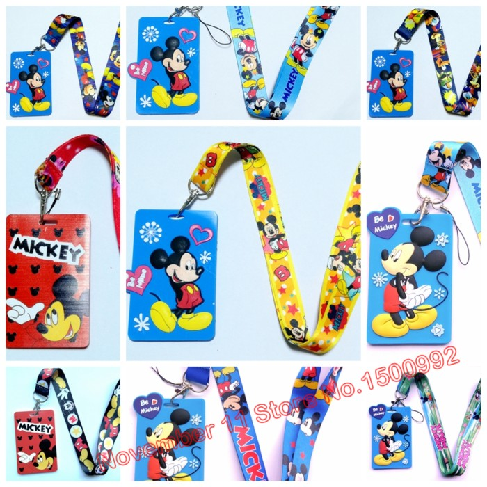 mixed 30pcs mickey cartoon Holder Identity Badge with Lanyard Neck Strap Card Bus ID Holders With Key Chain QW-643
