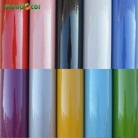 61 cm de Largura Glossy Armário de Cozinha Mobiliário Porta do Armário Adesivos À Prova D' Água PVC Papel Contact Vinil Home Decor Adesivos de Parede