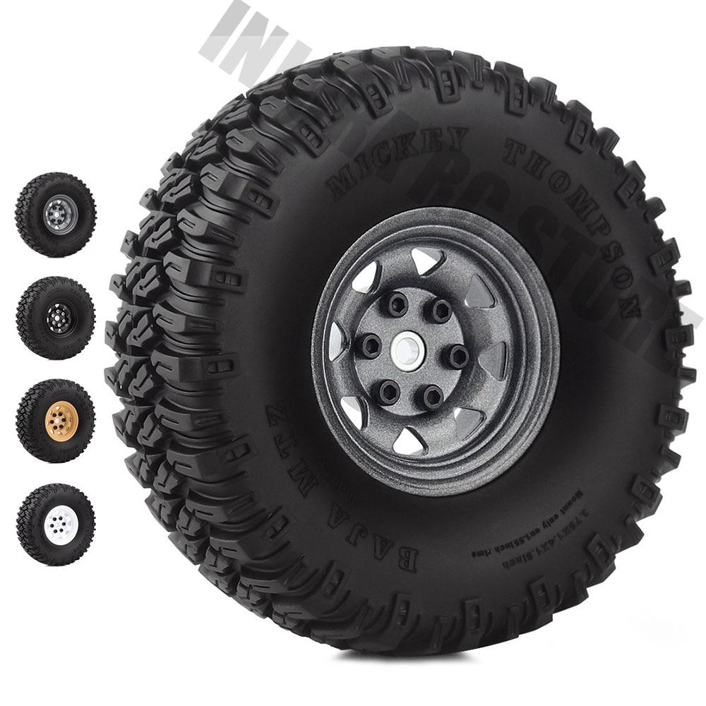 "4 Pcs 1.55/"" Tire /& Wheel Rim for 1//10 RC D90 TF2 Tamiya CC01 LC70 RC Crawler Car"
