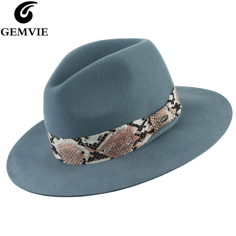 GEMVIE Brand Soft 100% Wool Felt Hats Fashion Fedoras For Women Snake skin Striped Band Jazz Cap Lady Solid Wide Brim Panama Hat
