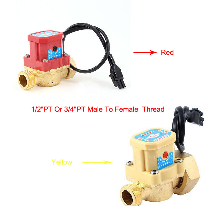 1pc 3/4PT Or 1/2 PT Male To Female Thread 90W Pump Flow Sensor Liquid Water Heater Switch Red Yellow ksol new style 26mm 3 4 pt thread connector 120w pump water flow sensor switch