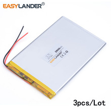 3pcs/lot 357590 3.7V 2800mah Lithium polymer Battery with Protection Board For PDA Tablet PCs Digital Products E-book DVR