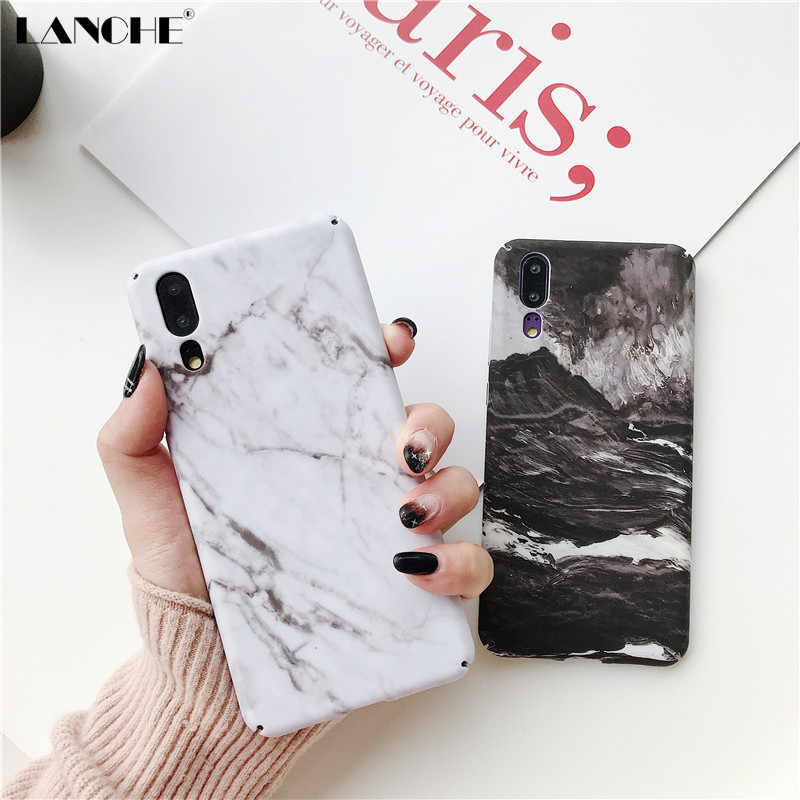 LANCHE Marble Phone Case For Huawei P20 Lite P20 P30 Pro Mate 20 Honor 10 Case Matte Hard PC Phone Cover For Huawei P Smart 2019