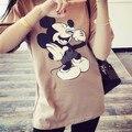Плюс размер 2015 новых женщин майка мультфильм печатных короткими рукавами Футболки женский свободно хлопок рубашка мода повседневная топы 31067