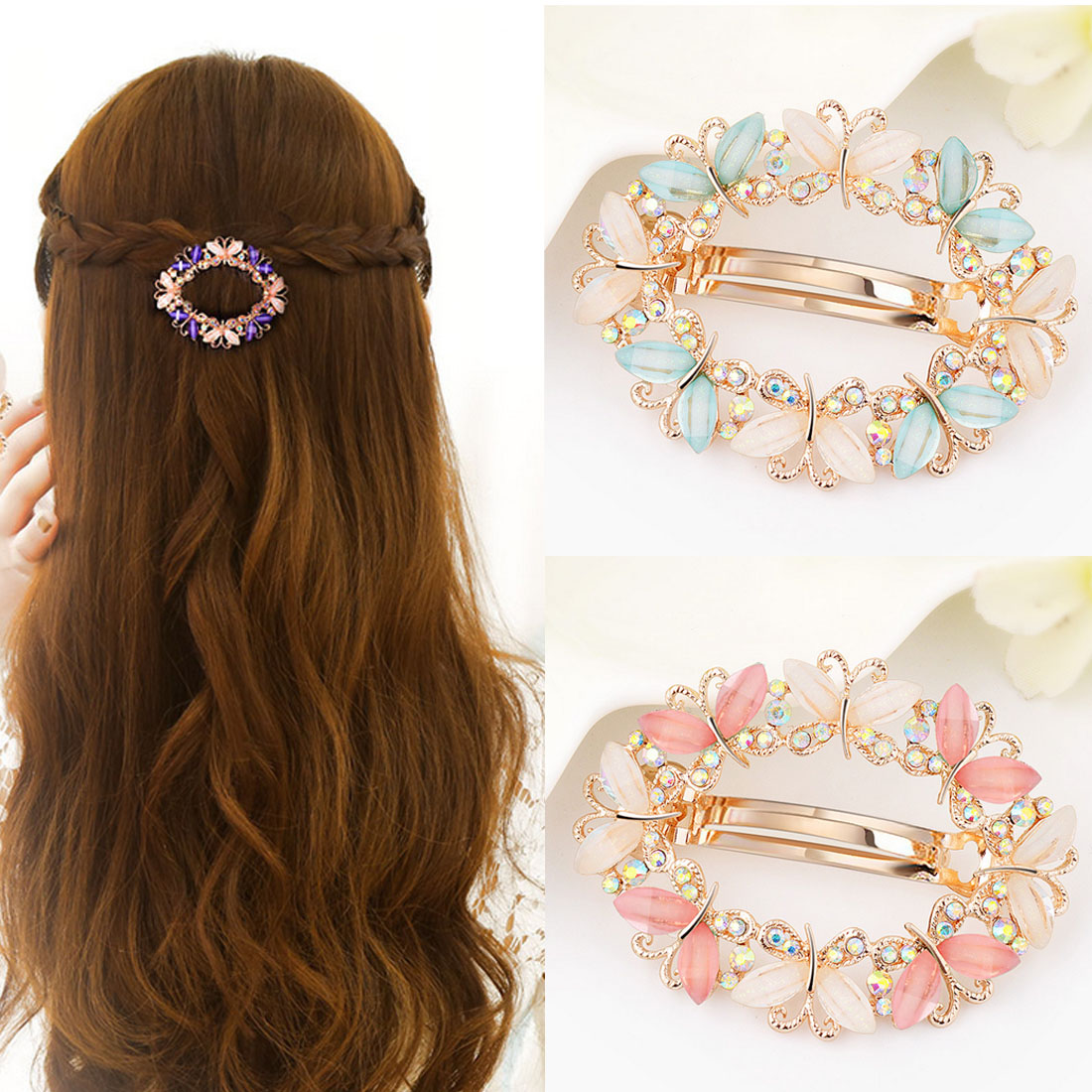 1PC Flower Butterfly Barrettes Clamp Hairpins Brooch Hair Styling Tools Crystal Rhinestone Hair Clips for Women Girls