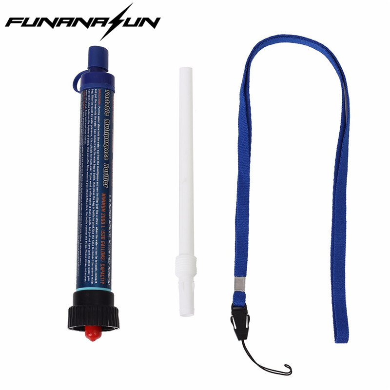 Outdoor Water Filter Purifier with Extension Tube Portable Hiking Drinking Water Cleaner Emergency Camping Survival Kit filled with water on the glowing green camping emergency lights