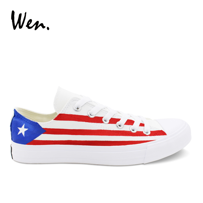 Wen Men Casual Shoes Design Puerto Rico Flag Hand Painted Shoes Low top Canvas Sneakers Star Stripe Shoes Laced Low Heeled Flat men women converse puerto rico flag hand painted artwork high top canvas shoes unique sneakers