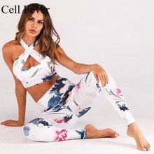 купить Yoga Set Floral Print Set Women Workout Gym Clothing Tracksuit Bra+High Waist Leggings Two Piece Sport Suit Ropa Deportiva Mujer по цене 1349.62 рублей