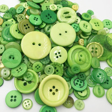 Green mix size 50 Gram DIY Making Hand Knitting dolls clothing Buttons Resin Promotions Mixed Sewing Scrapbook PH220