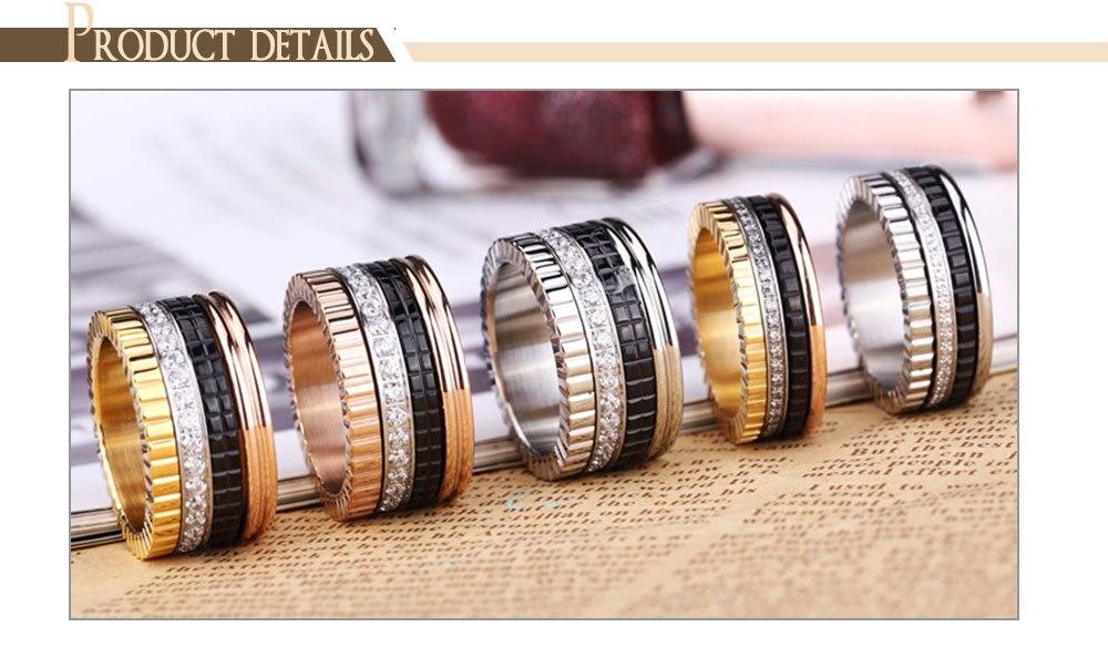d02ec415f7b5 ZINDOV de marca de lujo de las mujeres anillo de acero inoxidable de ...