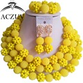 Eritrea Jewelry Set African Fashion Crystal Beads Yellow AN020