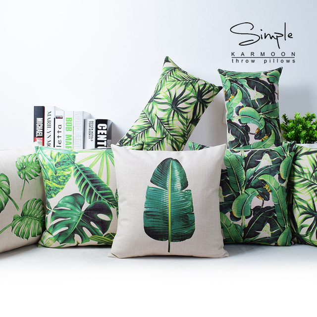 Fantastic Tropical Monstera Leaf Green Cushion Cover Linen Throw Pillow Case  UW83