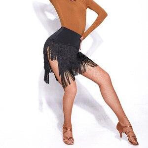 Image 4 - Новейшая популярная юбка для латинских танцев для дам, юбка с кисточками из черной кожи, Женская юбка для бальных танцев, Chacha Tango Samba, конкурентные костюмы I209
