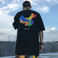 Streetwear Mens T Shirts Chinese Style O Neck Print Tiger Parents Off White Hip Hop 2018 Fashion Dry Fit TeeTops Pluas Size