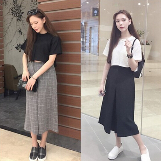 Cheap wholesale 2018 Summer hot selling women's all-match fashion plaid loose wide leg pants culottes female sexy casual Capris