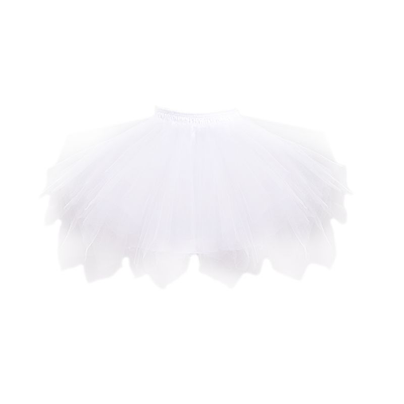 Children Short White Mesh Multi Layered Petticoat Elastic Drawstring Waistband No Hoop Tulle Skirt Crinoline With Magic Skit