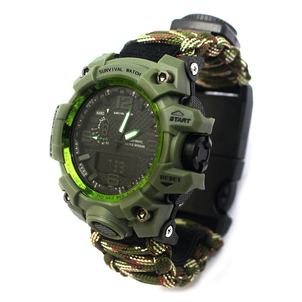 New Arrival Outdoor Sports Watch With Emergency Compass Thermometer Survival Tools Electronic Dual Luminous Waterproof Watch
