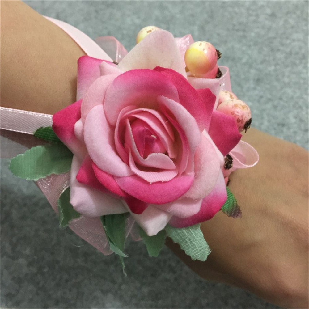 Pink groom boutonniere bridal girl wrist corsage artificial hand pink groom boutonniere bridal girl wrist corsage artificial hand wedding flower bouquet accessories party man suit decoration in artificial dried flowers izmirmasajfo