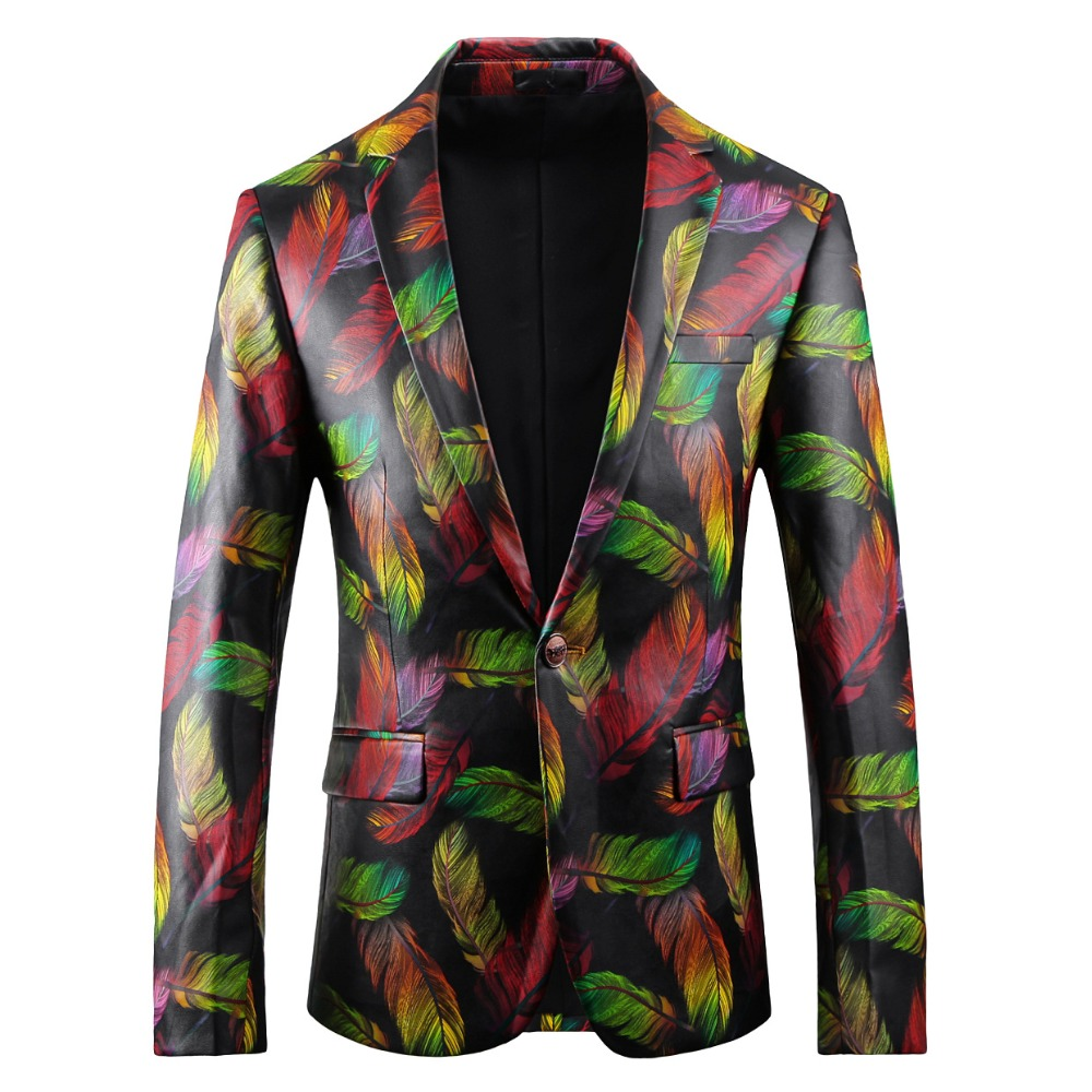 Suit Jacket Floral-Coat Men's Single-Breasted And Fashion Slim Autumn Spring New