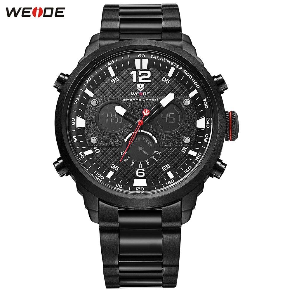 Fashion Original WEIDE Men LED Black Man Watch Outdoor Sport Watch Men Digital Quartz Full Steel Band Water Resistant Wristwatch все цены