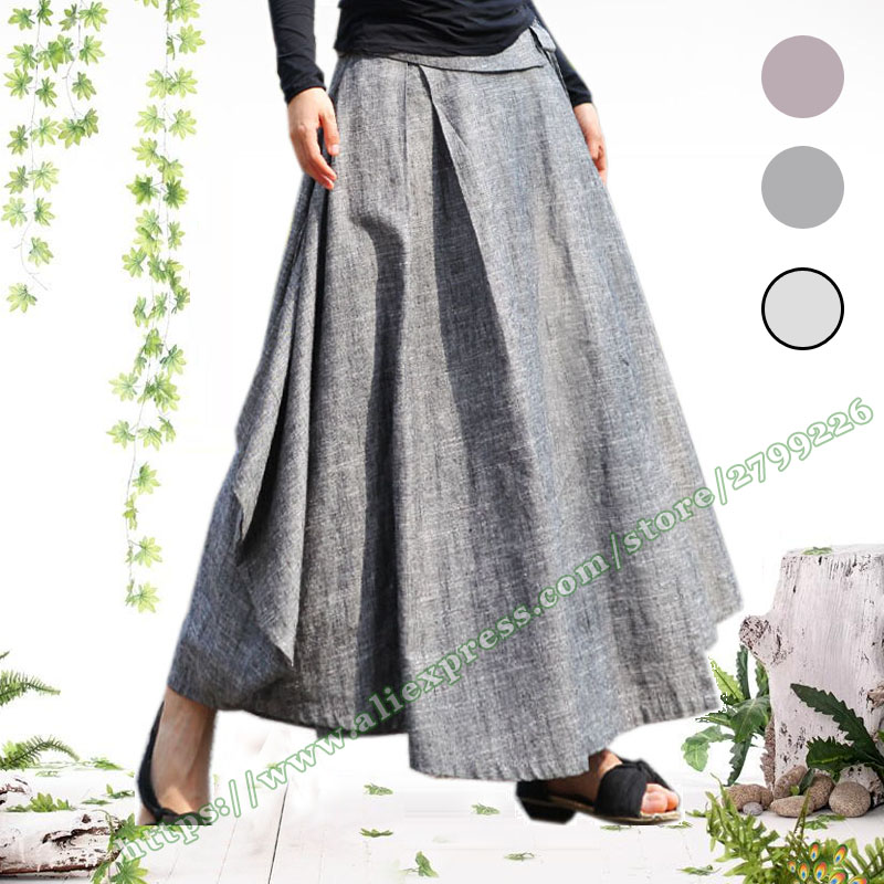 Spring Autumn Plus Size 7XL 5XL 6XL Linen Casual Vintage Asymmetrical Pleated Long Skirts Womens female