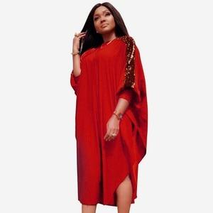 Image 2 - Dashikiアフリカ女性のための3XLプラスサイズドレスレディーススパンコール青赤伝統的なアフリカの服妖精夢