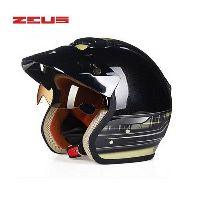 safety electric brand DOT ZEUS 381c 3/4 open face motorcycle helmet , motorbike motocross moto scooter safety helmet цена