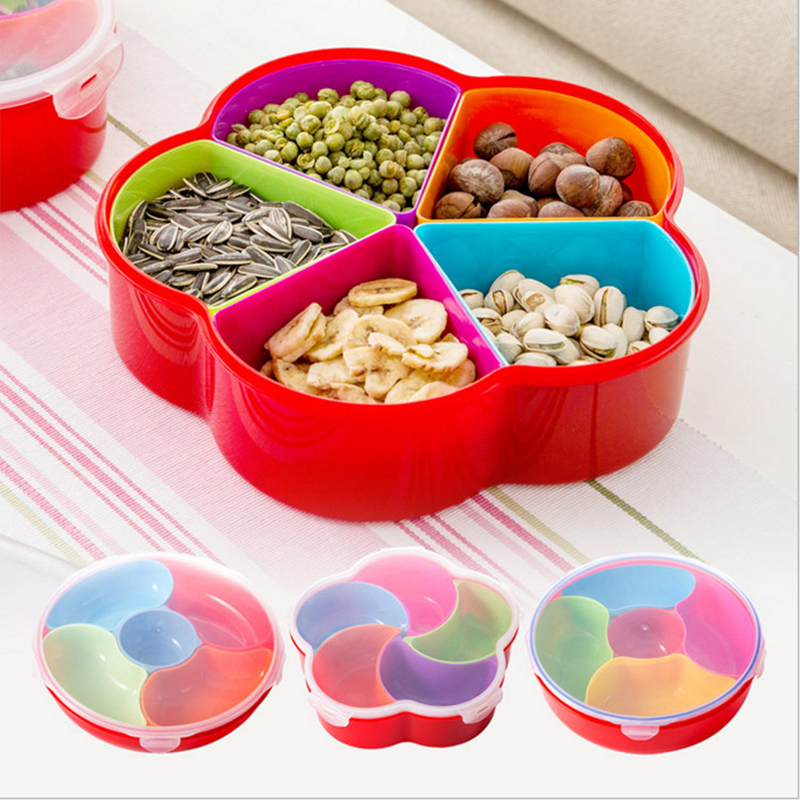 Snacks Box Fruit Dishes Saucer Snack Tray Fruit Tray Colorful Plates Serving Tray Plastic Nuts Dish