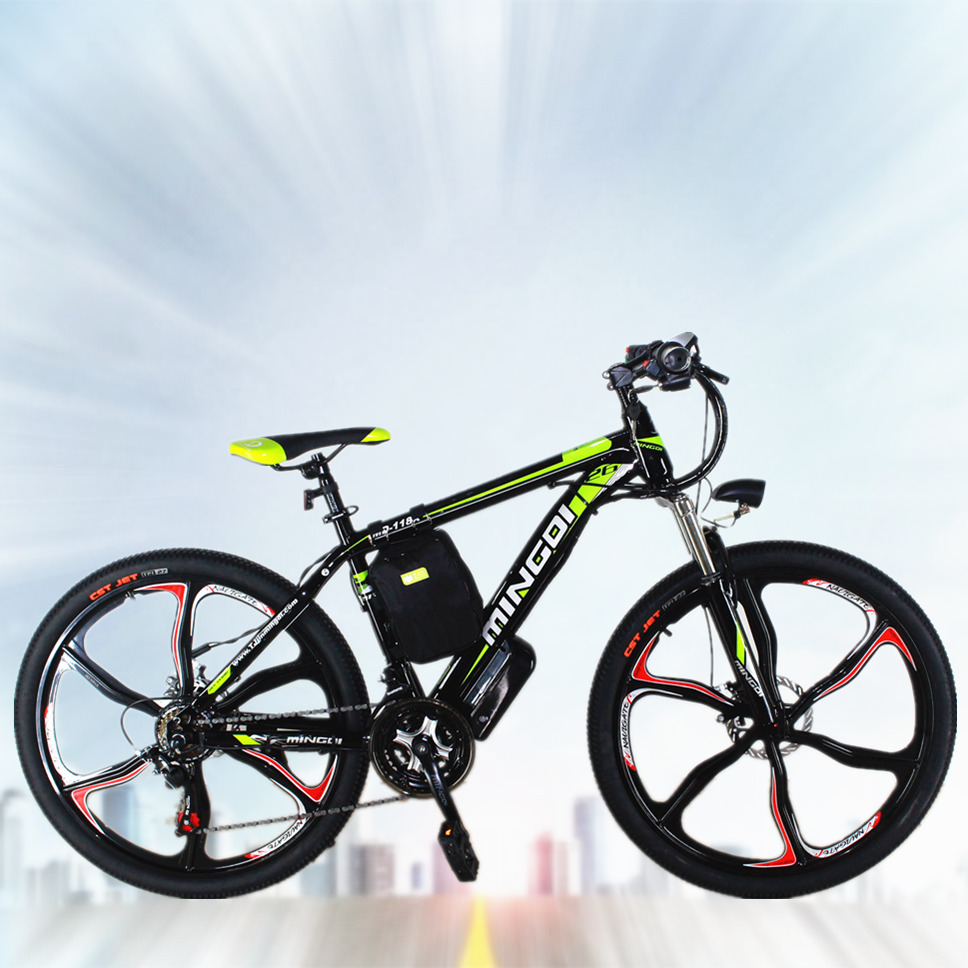 26mountain 21speed 6spoke wheel electric bicycle power li. Black Bedroom Furniture Sets. Home Design Ideas