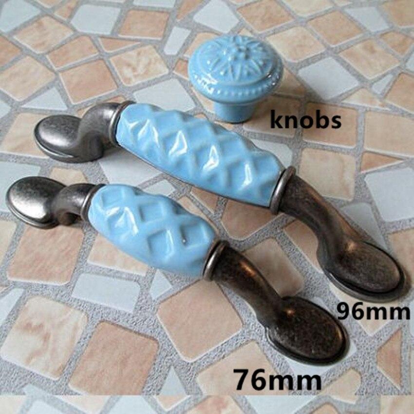 96mm Blue dresser handles Drawer knobs pulls ceramic kitchen cabinet handles pulls antique silver furniture decoration handle 3
