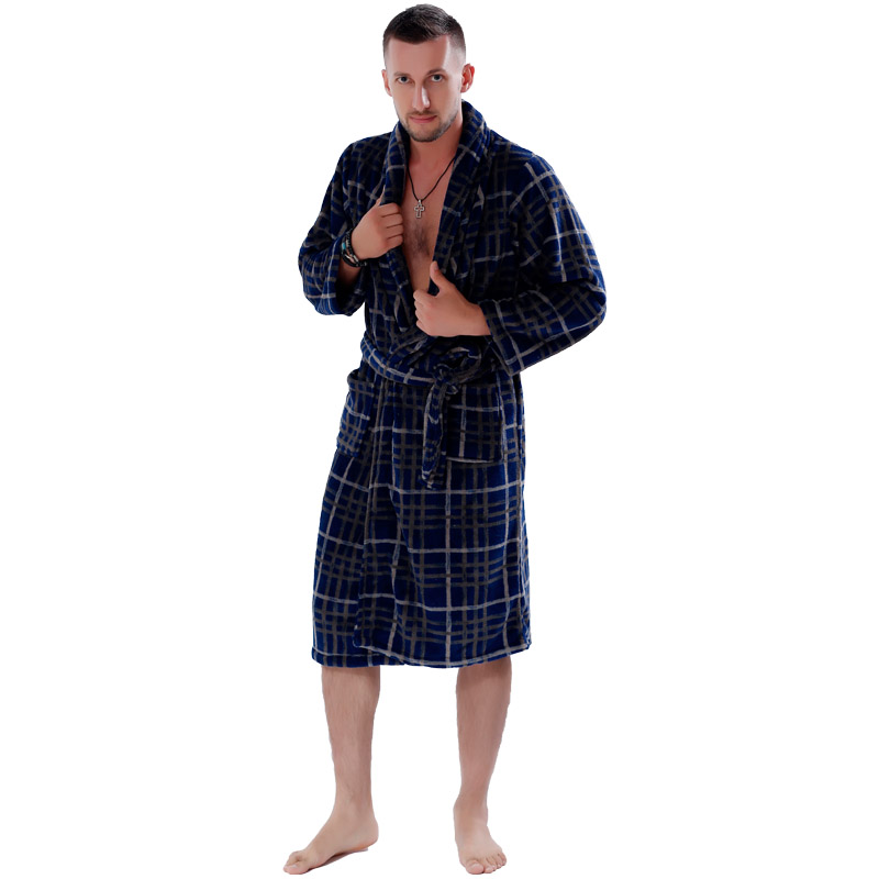 f7c98f9890 New Couples Coral Fleece Bath Robe Navy Plaid Nightgown Sleepwear Plus Size Bathrobe  Dressing Gown For