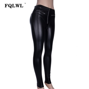 Image 5 - FQLWL Sexy PU Leather Pants Women Trousers Black High Waist Pants Female Hip Push Up Stretch Skinny Pencil Pants Ladies Leggings