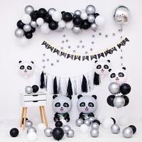 Белый черный панда набор воздушных шаров День рождения украшения дети панда баллон гирлянда розовый синий баллон комплект детское шоу рекв...