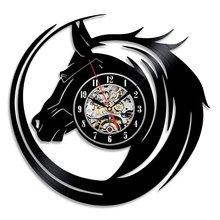 Hot CD Vinyl Record Wall Clock Modern Design Animal Dog Cat Horse Wall Watch Classic Clock Relogio Parede