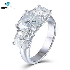 DovEggs Genuine 14K 585 White Gold 5.2CTW Carats Cushion Cut Moissanite Diamond 3 Stone Engagement Ring for Women Wedding
