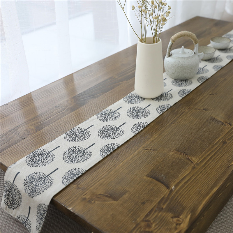 European Home Flannel Table Runner Modern Tea Flag Cover Solid Print Tree Tablecloth For Wedding Party Fashion Decoration