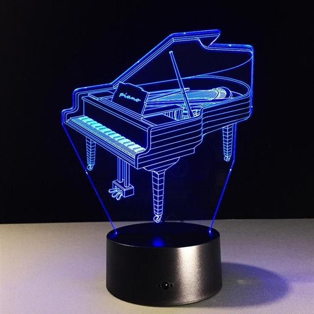 Piano Lamp 3D Yoga Meditation Nightlight Colorful Changeable Lights  Creative Illusion USB Led Table Desk Lampara