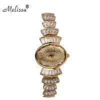 MELISSA Designer New Cake Watch Full Sparkling Zircon Bracelet Wrist watch Elegant Women Dress Watches Quartz Montre Femme F8006