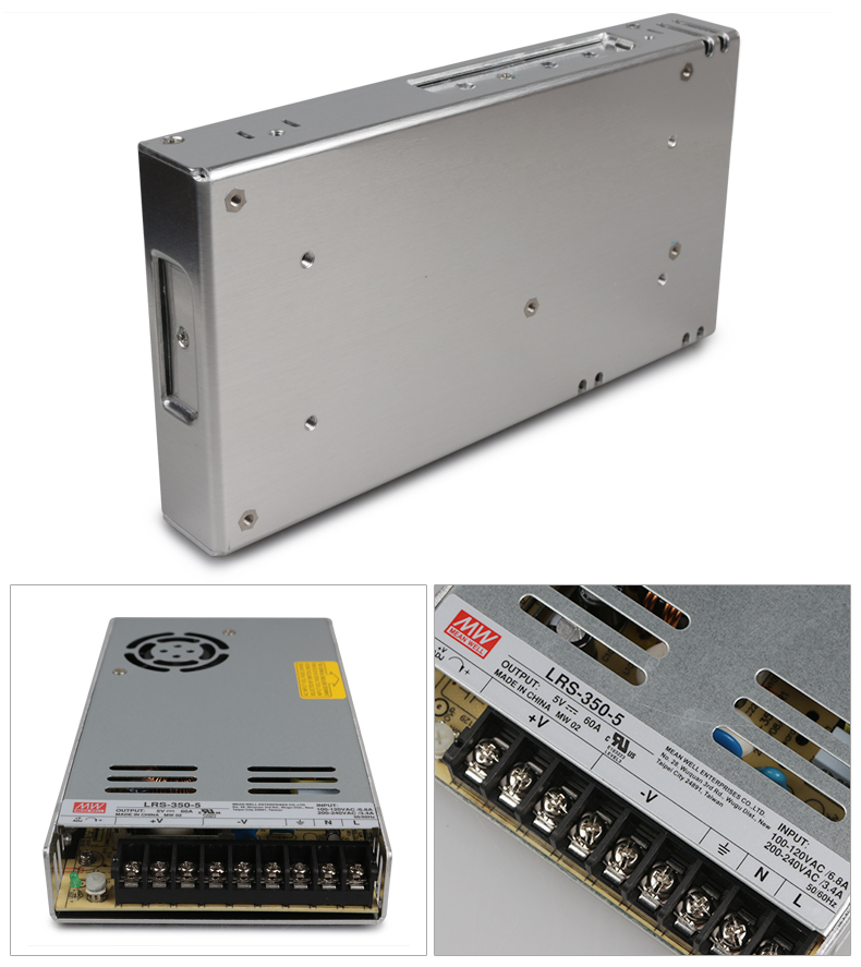 LRS-350-5; 5 V/350 W Modo de interruptor meanwell fuente de alimentación led; AC100-240V de entrada; 5 V/350 W de potencia de salida 300 M al aire libre SC UPC 4 núcleos 3 acero gota óptica Cable de conexión modo único dúplex G657A FTTH Drop cable de puente de fibra óptica